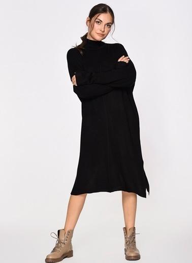 Loves You Yarım Balıkçı Yırtmaçlı Triko Elbise Siyah